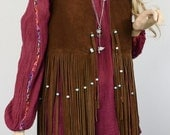 Vintage 1960's 70's Women's Rock Star Beaded LONG Fringed Suede Leather HiPPiE BoHo Vest WooDsToCk S M