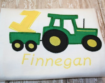 baby first birthday boy or girl  tractor birthday shirt with name