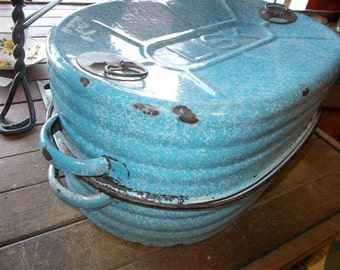 LARGE Antique LISK Graniteware ROASTER with Inside Pan- Blue Mottled and Beautiful