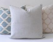 Aqua and cream small stripe decorative pillow cover