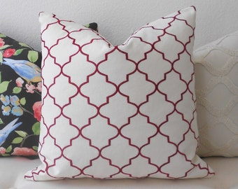CLEARANCESALE Both sides, Raspberry pillow, red embroidered quatrefoil moroccan trellis decorative pillow cover