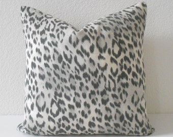 Double sided Gray Animal Print Leopard Decorative Pillow Cover