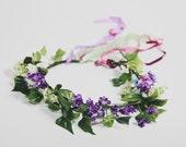 Handmade Bohemian Purple Faux Floral Headband Wreath