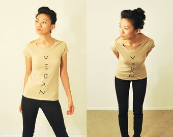 Vegan Shirt: Mocha Latte Open-Crew-Neck