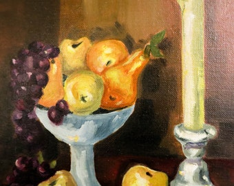 Vintage Original Oil Painting - Mid Century Still Life with Fruit & Candle - Fruit Painting - Framed Original Art - Fall Decor - Unique Gift