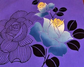 Vintage Japanese cotton yukata kimono fabric 92 cm x 34 cm purple roses dyed
