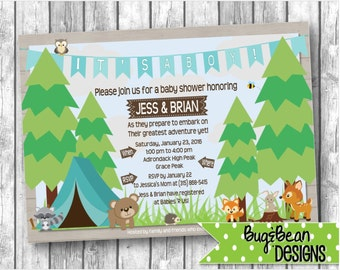 Camping Friends Baby Shower Invitation