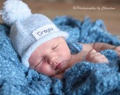 Baby Announcement, Personalized Baby hat, New Baby, Newborn Hat, Girls Hat , Boys Hat, Knit hat, Free monogrammed name, Preemie/24 Months