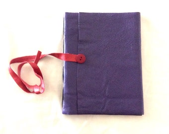 Purple Leather Journal-RedButton Strap-Travel-Sketch-Gift Idea