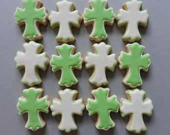 Small platter cross cookies - Hand decorated sugar cookies- Platter cookies (2530)