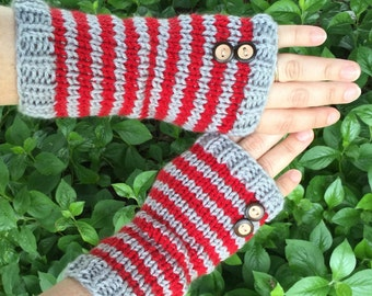 Scarlet and gray striped fingerless gloves, Ohio State themed fingerless gloves, Buckeye texting knits, OSU gloves,Buckeye buttons