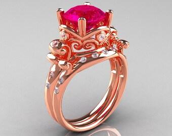 Art Masters Vintage 14K Rose Gold 3.0 Ct Rose Ruby Diamond Wedding Ring Set R167S-14KRGDRR
