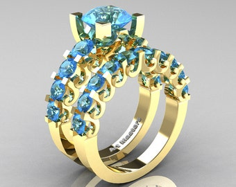 Modern Vintage 14K Yellow Gold 3.0 Ct Blue Topaz Designer Wedding Ring Bridal Set R142S-14KYGBT