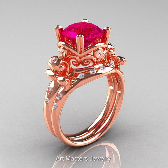 Art Masters Vintage 14K Rose Gold 3 0 Ct Rose Ruby Diamond