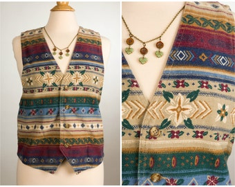 1990's Southwest Flowers Vest. Size Medium.