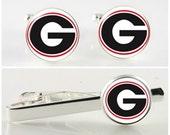 Secret Santa gift,University of Georgia cuff links, tie bar or gift set. SEC sports, GA Bulldogs, college sporty gift, Dawgs fan