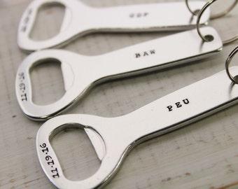 Personalized Bottle Opener Key Chain- Groomsmen Gifts- Men's Key Chain- Hand Stamped Key Chain- Gifts for Him
