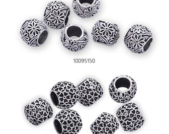 50 Antique Silver Flower Spacers Beads Round Loose Spacer Beads DIY Findings
