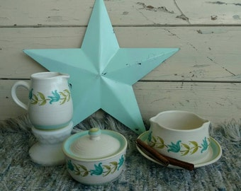 """Mid Century Franciscan Earthenware Pottery """"Tulip """"Time"""" - Retro Art Pottery Serving Ware, Aqua + Green Pottery Pitcher, Gravy Boat, Bowls"""