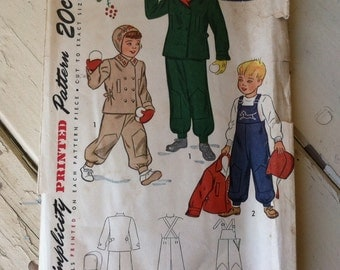 1940's Childs Coat Outerwear Pattern Size 6 - Vintage Unisex Winter Clothing By Simplicity Patterns, Danish Embroidery Influence