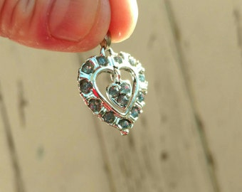 Antique Silver Heart Charm With Ice Blue Stones, Sweetheart + Necklace Charm, I Love You, March Birthstone, March Birthday, Costume Jewelry
