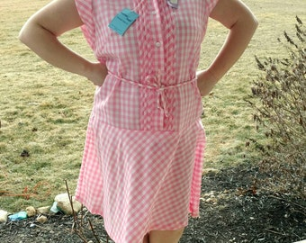 Vintage Pink Plaid Spring Dress for Ladies - Retro Preppy Plaid Dress by Better Half, Light Pink Cotton Summer Dress With Belted Drop Waist
