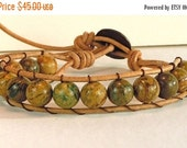 Clearance Sale Mens Leather Cord Bracelet - Verdite Gemstones - Wrap Bracelet - Metal Button Clasp - Handmade