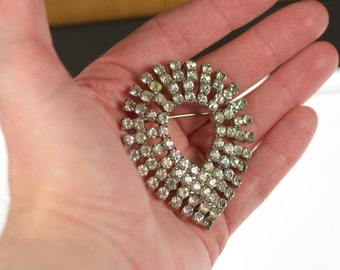 Vintage Very Sparkly Open Teardrop Brooch Clear Crystal Rhinestone Pin