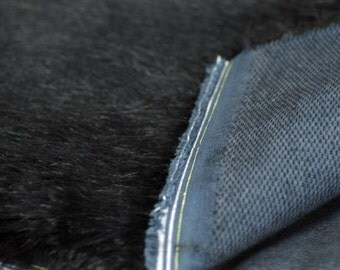 Long Black Fluffy Tissavel Faux Fur Fabric 1/4 to 1/2 Yard Available