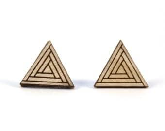 DJET | tiny triangle studs, laser cut wood posts