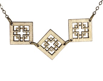 CHARMER | delicate wood necklace, delicate square charm necklace with linked squares, short necklace: great gift idea!