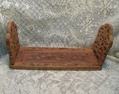 Vintage Wood Carved Expanding Book Holder India Beautiful