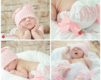 Personalized Newborn Girls Photo Prop First Pictures set with hat, legwarmers and Bloomers in pinks and Satinbaby gift