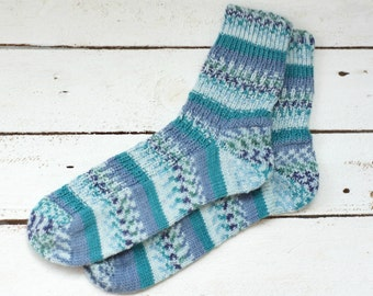 Hand knitted womens fishnet Socks with soya turquoise blue striped US 7,5-8,5 EUR 38-39 Wool Socks