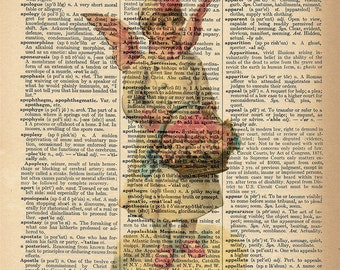 Dictionary Art Print - Angel with Flowers - Upcycled Vintage Dictionary Page Poster Print - Size 8x10