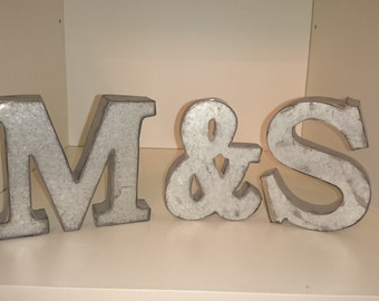 Small METAL AMPERSAND Letter & Sign And Initial Home Room Steel Decor Diy Photo Prop Vintage Style Gray Silver Industrial Rustic