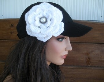 Womens Hat Baseball Hat Cap Fashion Accessories Women Sport Hat in Black with White Crochet Flower