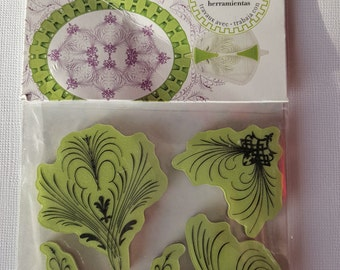 Elegant Flourishes 5 piece Rubber Cling Stamps Stamping Gear collection by Inkadinkado