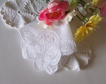 Lace Wedding Handkerchief for a Bride Something Old Vintage Hanky in White Heirloom Quality Belgium Lace Keepsake Smaller Size Hanky