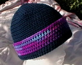 Crocheted Hat beannie cap toque Navy blue purple light blue berry tweed Knit cloche CT007