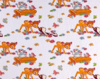 Disney Fleece Bambi & Friends Floral Winter Fabric by the yard