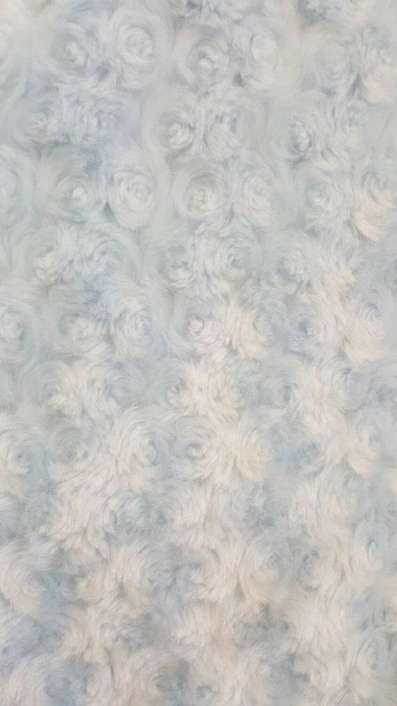 Minky cuddle rosebud fabric by the yard baby blue for Baby fabric by the yard