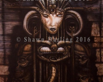 """8x10 print  of original Shawn Darling acrylic airbrush painting on Canvas """"Cyberglyph"""" painted in 1996 Giger Dark Alien"""