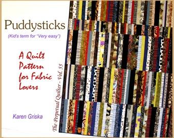 "Quilt Pattern, Puddysticks, Easy Quilt Pattern, XL Twin Size, 65"" x 84"" Dorm Bed Quilt, String Quilt, Scrap Quilt, qtm"