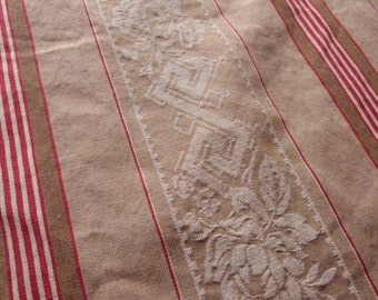 Vintage linen mattress ticking French red kaki ticking stripe fabric antique red beige floral striped mattress toile supply textile fabric