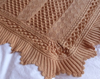 Antique hand knitted bedspread afghan throw blanket handmade French raised beige knit lace Large bed spread throw coverlet vintage bed linen