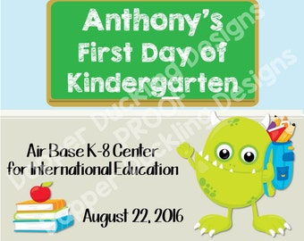 """Personalized First Day of School Announcement Sign Printable 8""""x10"""" - Boy Monster"""