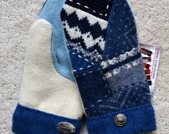 Wool Mittens, Handmade recycled upcycled Norwegian wool sweater, Fleece Lined, Embroidered , Fair Isle, Patchwork