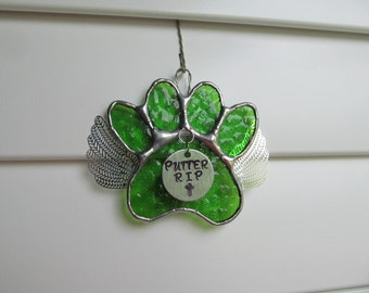 "Stained Glass Paw Print ""Paws To Remember"" Angel - Green English Muffle Glass  Memorial Marker -Personalized Hand Stamped Tags now Available"