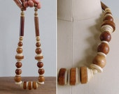 Vintage 80's Boho Wooden Beaded Statement Necklace